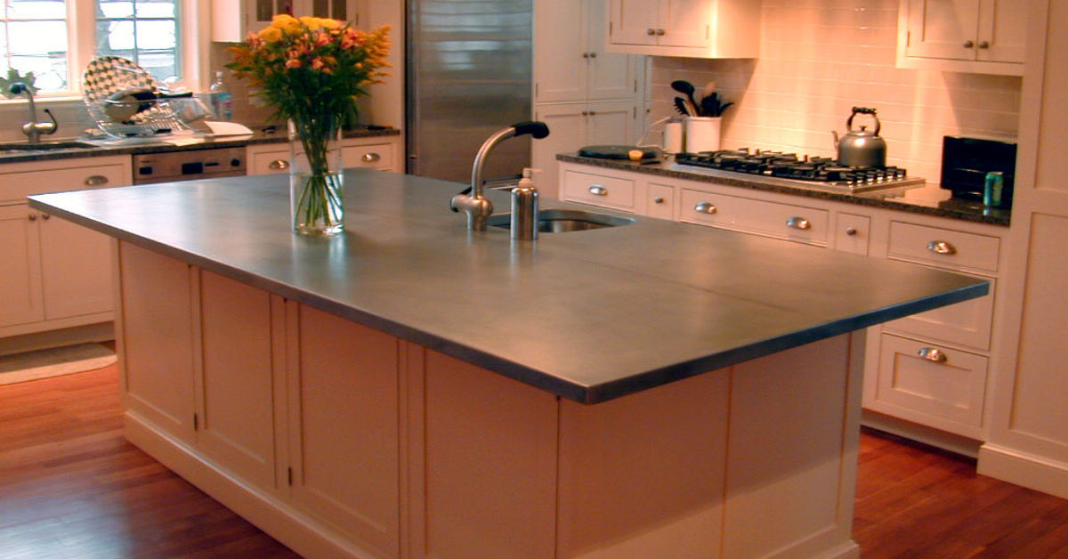 Another example of a zinc countertop for the kitchen for Zinc kitchen countertop