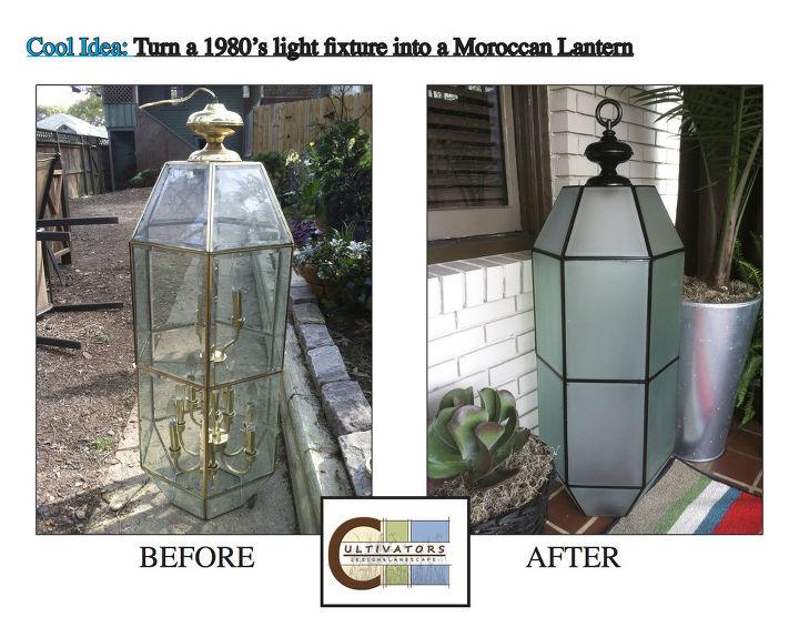 turn a 1980 s light fixture into a lantern for your garden, decks, outdoor living, Turn a 1980 s light fixture into a lantern for your garden