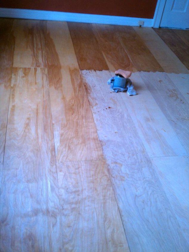 Bedroom floor getting a pretty pecan stain