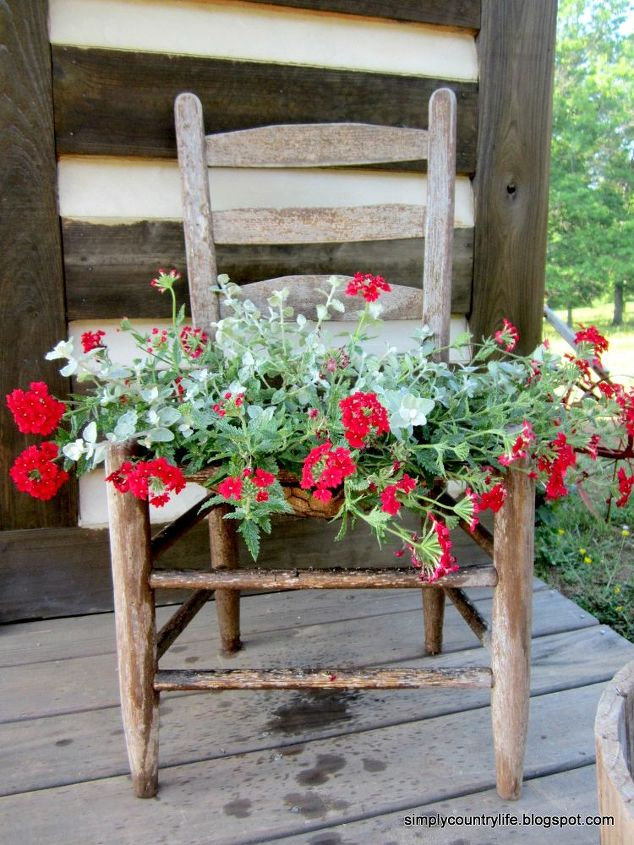 free junk chair repurposed into a garden planter, gardening, painted furniture