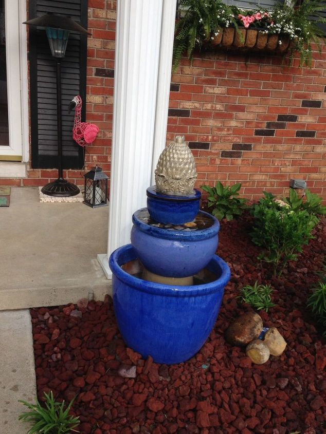 diy fountain for front landscape, outdoor living, ponds water features