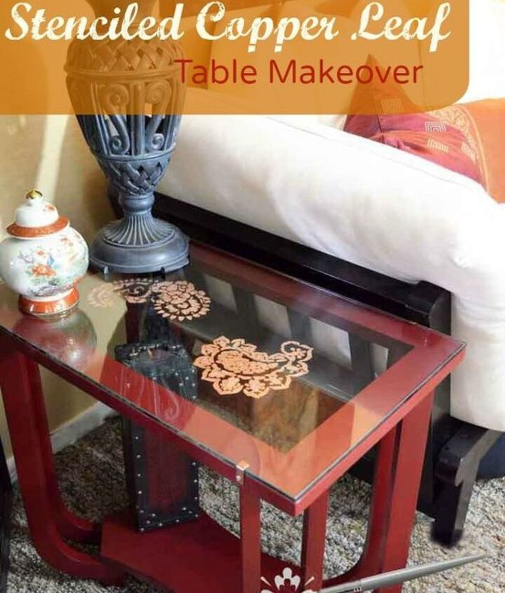 stenciled copper leaf table, chalk paint, painted furniture