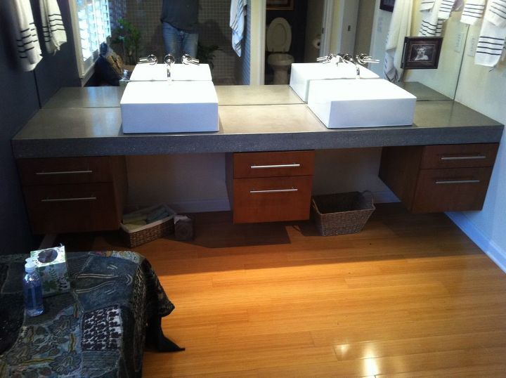 floating concrete bath vanity, home decor