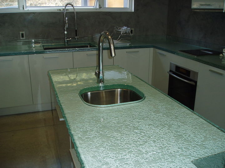 q have you ever considered glass for your kitchen, countertops, home decor, kitchen design
