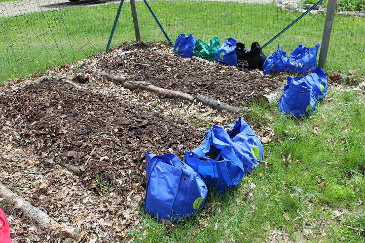 recycle bags in the small house garden the 10 00 experiment, gardening, raised garden beds, repurposing upcycling