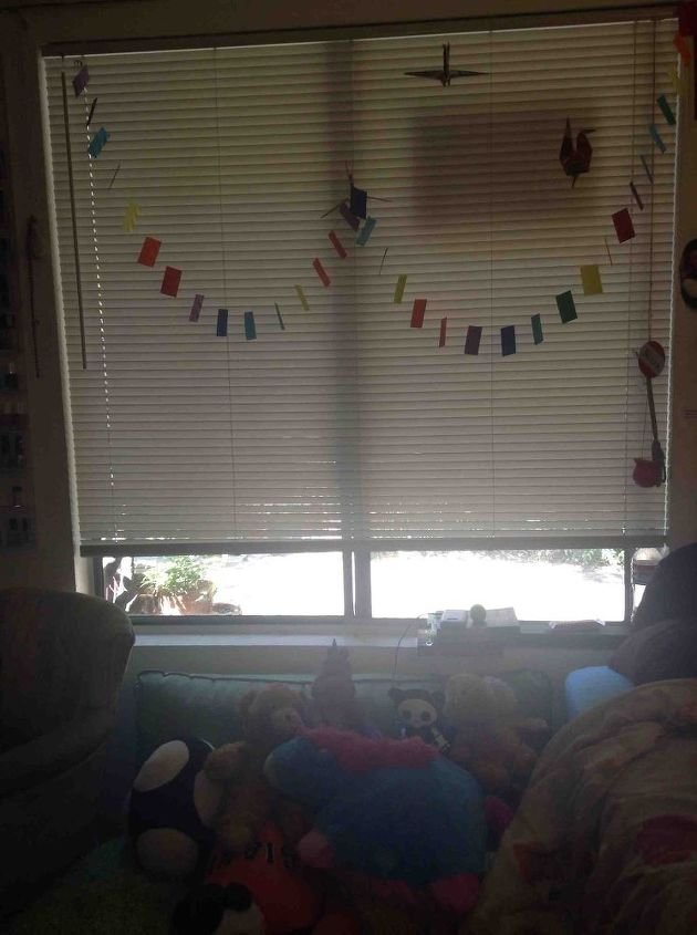 q window treatment for a really large bedroom window, bedroom ideas, home decor, window treatments, windows, My window And my mini couch full of stuffed animals