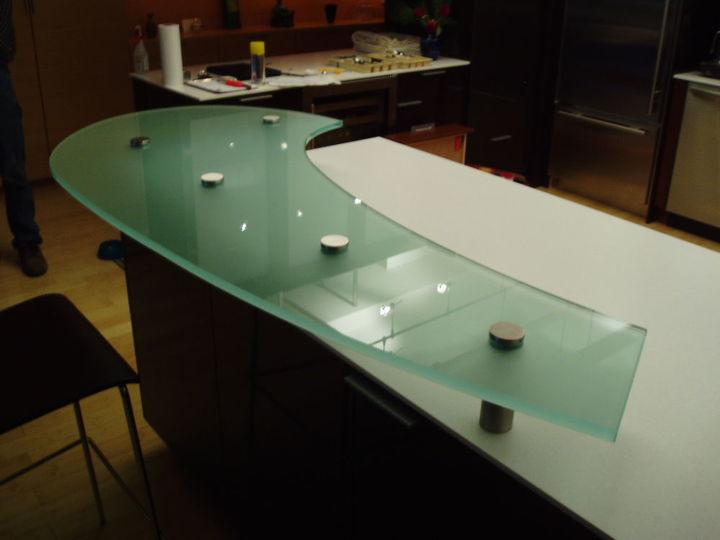 raised glass countertop, countertops, home decor, kitchen design