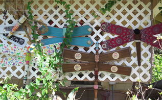 ceiling fan blade dragon flies, crafts, outdoor living, repurposing upcycling