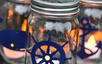 nautical mason jar lanterns, crafts, mason jars, outdoor living