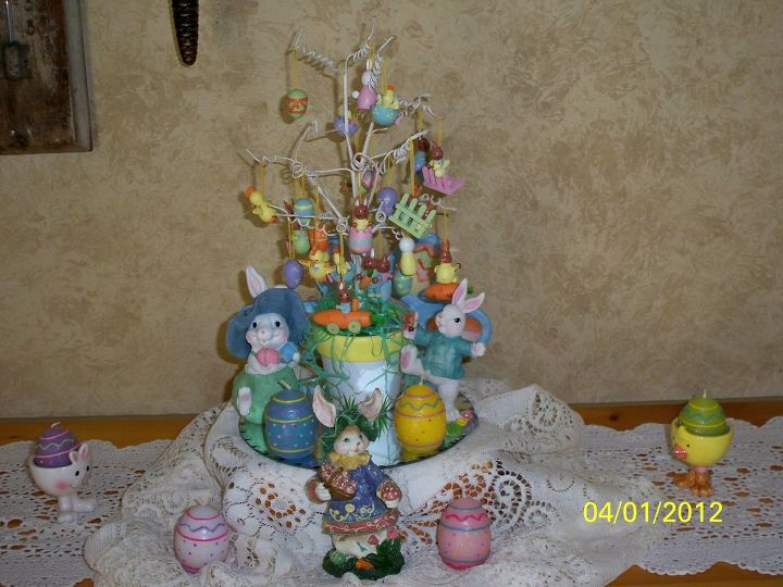 Small table top display - Mini Easter Tree w/ teeny tiny ornaments!  More bunnies and colorful egg candles.
