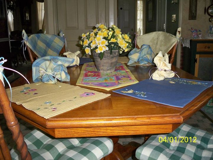 Kitchen table all ready for Easter brunch.