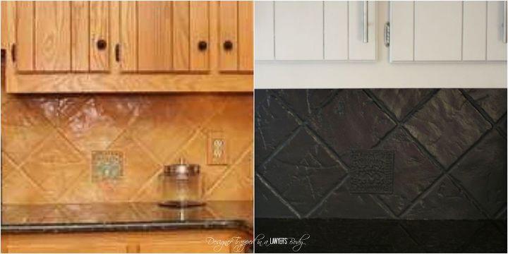 update an outdated tile backsplash with paint, diy, kitchen backsplash, kitchen design, painting, tiling