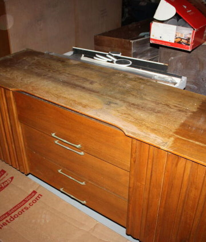 q the top of this credenza was water damaged beyond repair i took my heat gun and, painted furniture, woodworking projects
