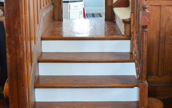 stairway to heaven, flooring, foyer, kitchen design, woodworking projects, Refinished stairs in the front entry
