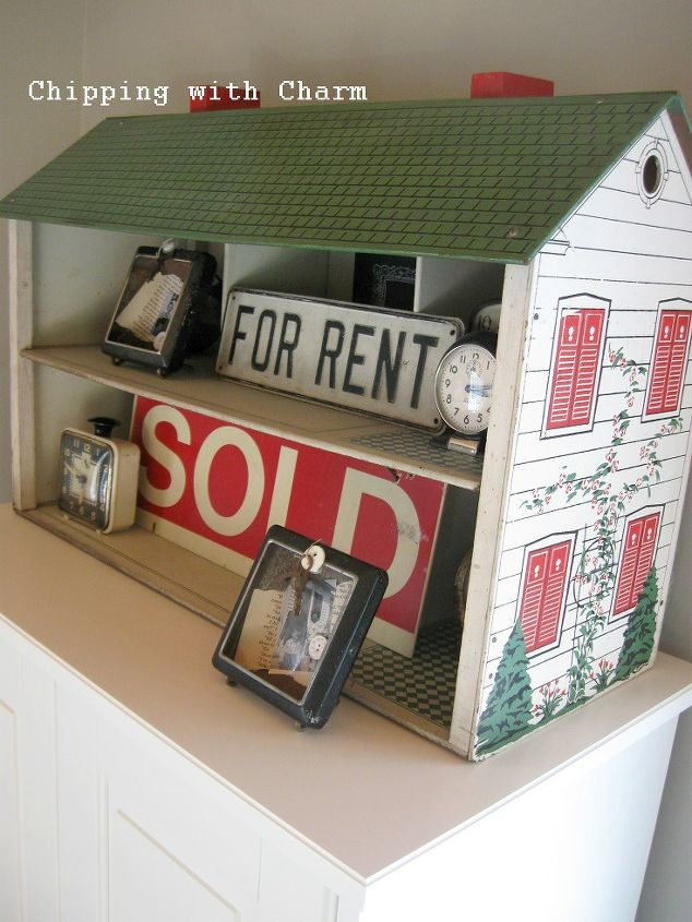 vintage doll house repurposed for a shelf, repurposing upcycling, shelving ideas