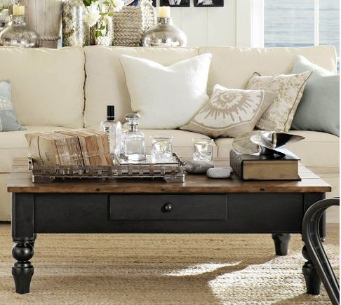 are coffee tables a thing of the past find out what other furniture and decor is, living room ideas, painted furniture, Pottery Barn coffee table pic