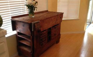 work bench turned buffet, painted furniture, repurposing upcycling, Here it is in it s new home