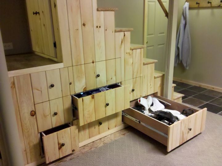 useful space i created under my basement stairs, home decor, storage ideas, woodworking projects, 30 deep drawers