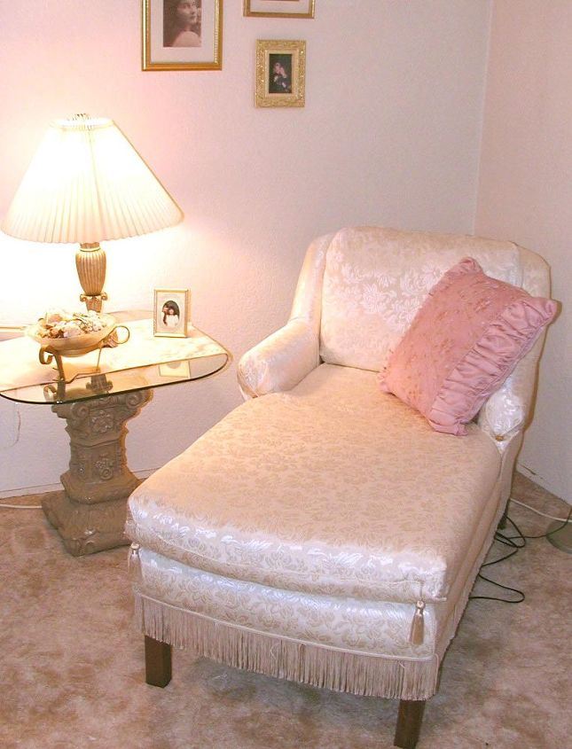 a flea market chaise turns elegant with easy technique secret, painted furniture, reupholster