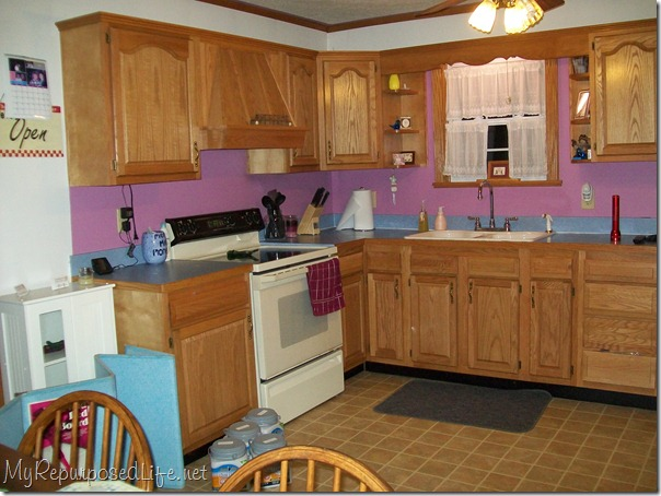 Before, note the one small window that allows very little light in the kitchen due to a patio and a huge tree.