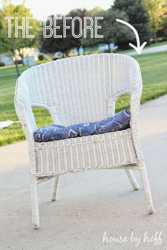 quick easy wicker chair makeover, painted furniture
