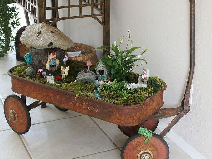 fairy garden concrete leaf roof, flowers, gardening, succulents