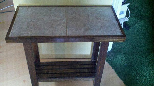 end table also made from left over tiles, painted furniture, tiling