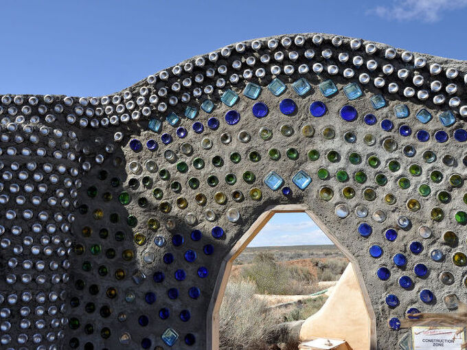 earthship visit, home decor, repurposing upcycling, Bottle wall