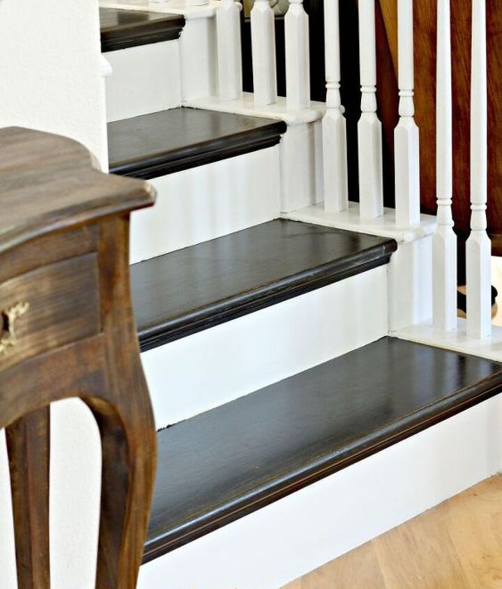 how to paint a staircase black and white with all the details, diy, painting, stairs