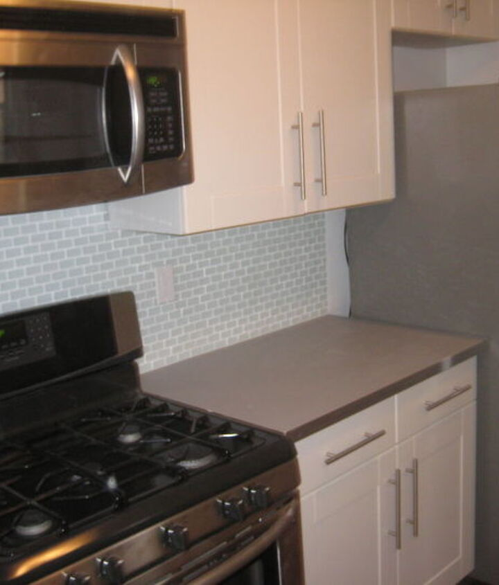 Glass Backsplash Project for latest rental home