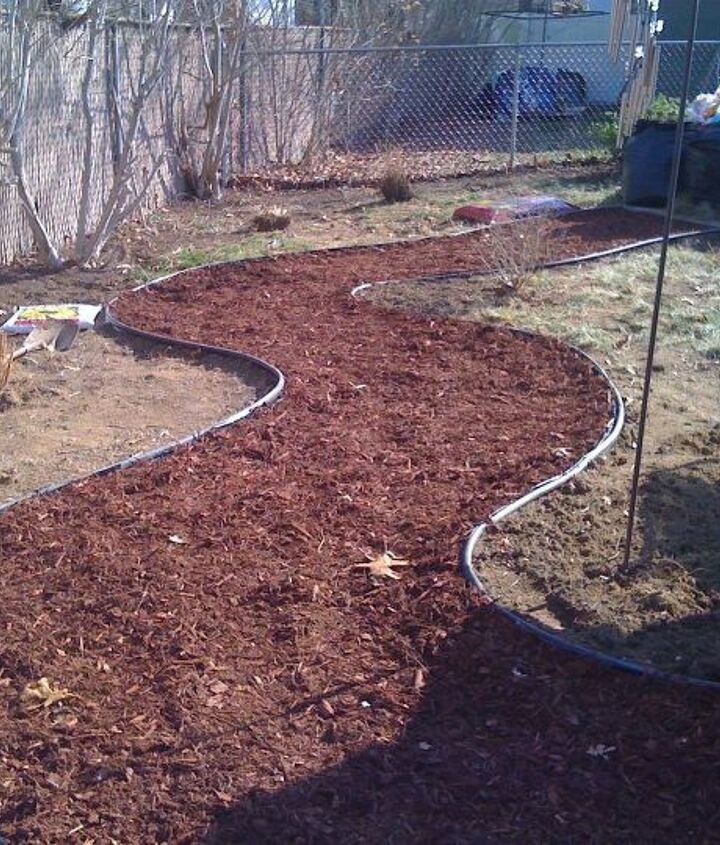 Red Mulch Path set, easy & inexpensive, will contrast great with the black mulch beds.