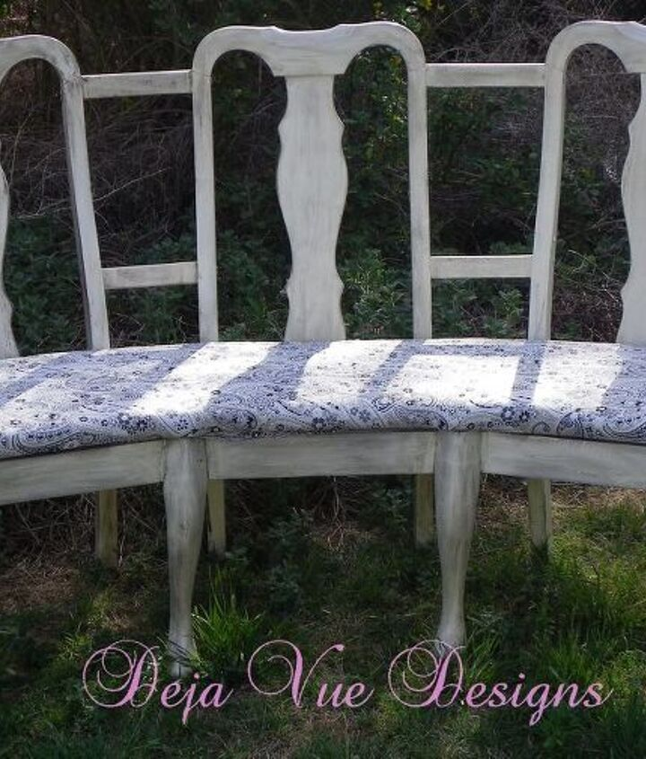 I took three old chairs that I found in an alley and pieced them together to make a super unique curvy bench.  I used outdoor fabric so that it could be used inside or out.