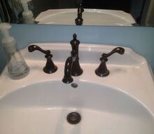 faucet handle cleanup suggestions for hardwater deposits, bathroom ideas, cleaning tips, plumbing, Oil Rubbed Bronze faucet by Delta with hard water deposits