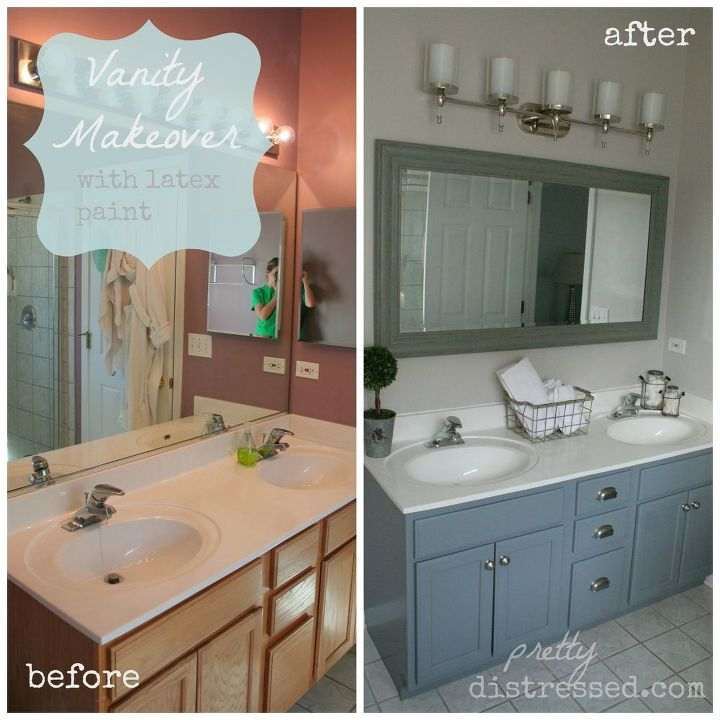 Bathroom Oak Vanity Makeover With Latex Paint Hometalk