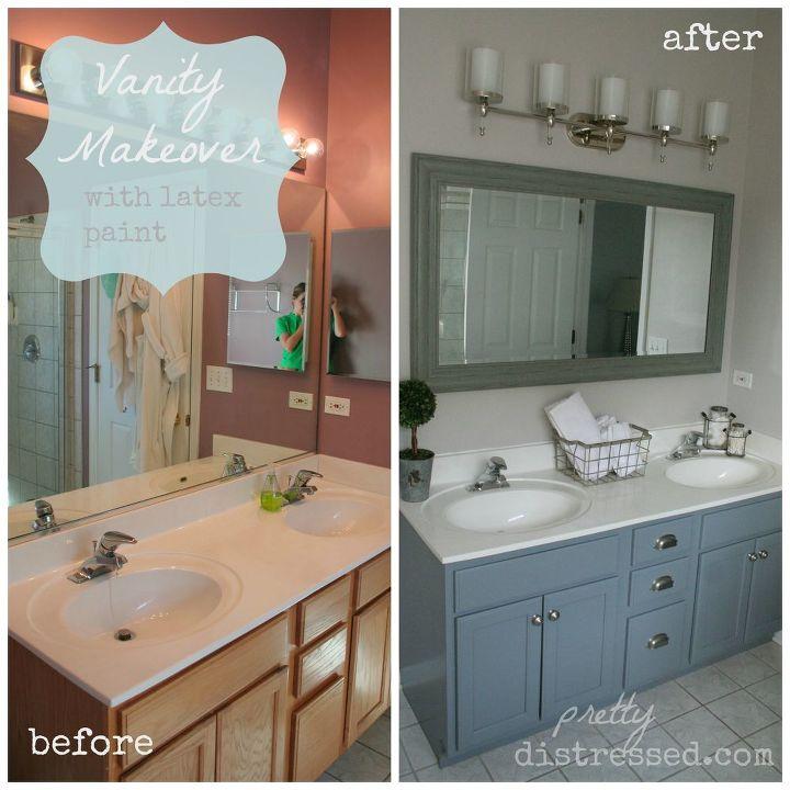 bathroom oak vanity makeover with latex paint, bathroom ideas, painted furniture