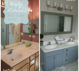 Bathroom Oak Vanity Makeover With Latex Paint, Bathroom Ideas, Painted  Furniture