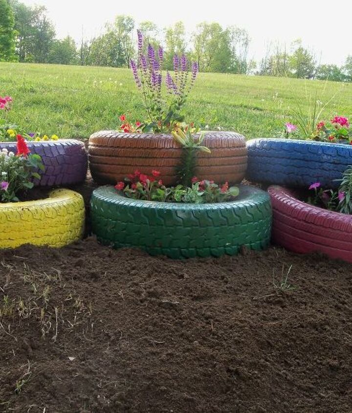 My finished tire garden.