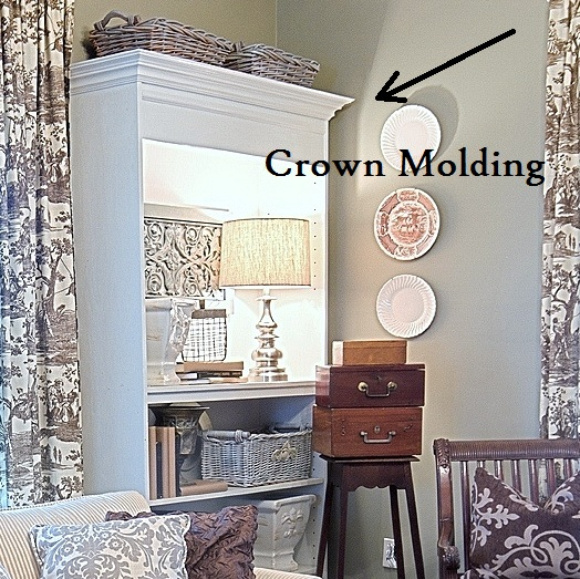 how to add molding to a bookcase, painted furniture, woodworking projects, Crown molding to bookcase