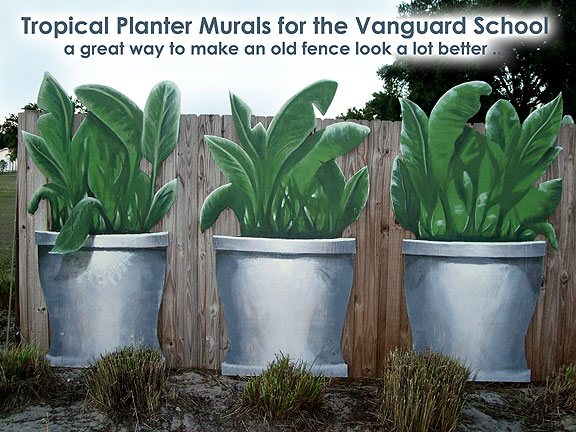 covering an ugly fence with plants you never have to water, fences, outdoor living, painting, tropical plants fence mural panels