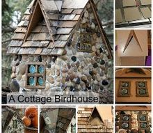 a stone cottage birdhouse, crafts