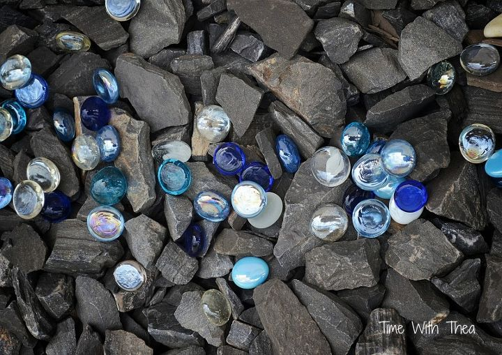 how i created a garden feature with black shale and blue glass gems, gardening, landscape