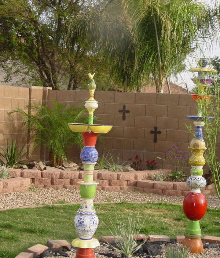 """""""Polatems"""" (Pots,plates, totems)  My husband always says """"What will she think of next""""!"""