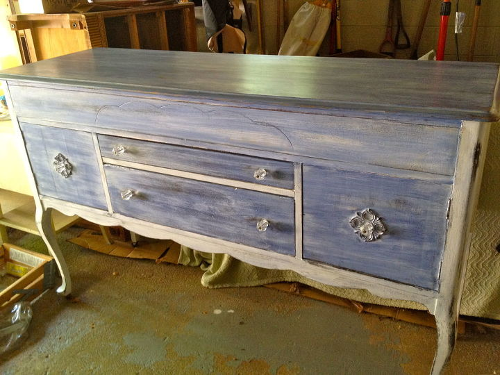 here s a beachy buffet i did using cccp a vintage white wash over maine harbor blue, painted furniture