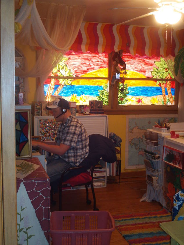 art studio i created i painted i made furnature and i repurpossed all i could, craft rooms, home decor, repurposing upcycling, My art studio window