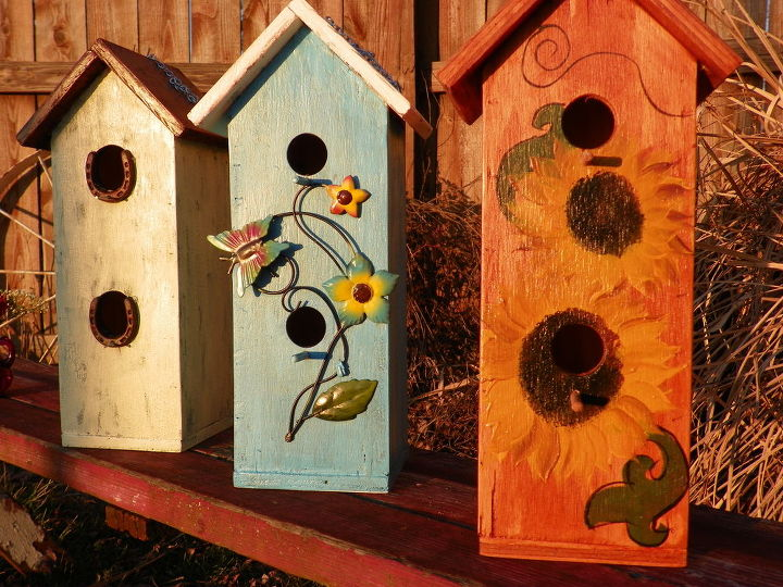 Bird houses made from plywood scraps