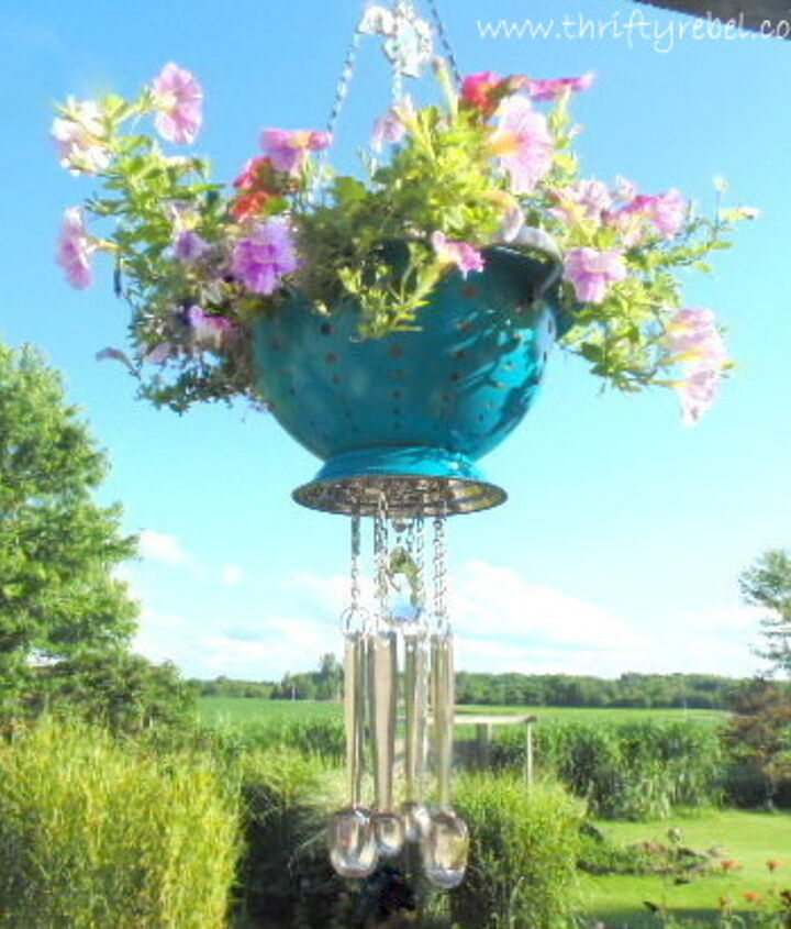 strainer planter wind chimes, container gardening, flowers, gardening, repurposing upcycling
