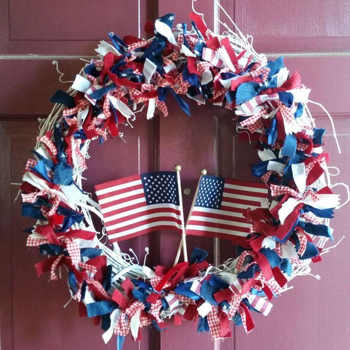wreath patriotic diy july fourth, crafts, patriotic decor ideas, seasonal holiday decor, wreaths