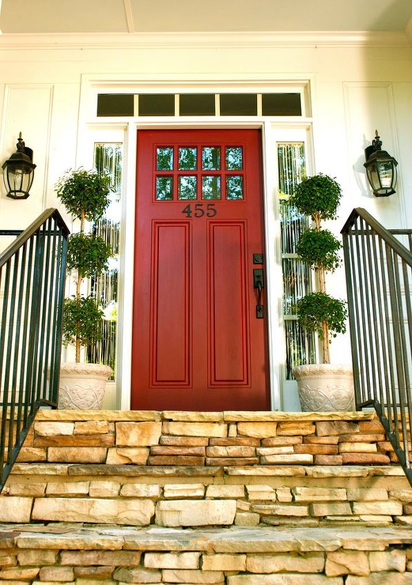 "Front Door Update:  Red paint, iron numbers, and topiaries say ""Come on in"":)"