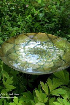 birdbaths garden birds diy, gardening, outdoor living, pets animals, repurposing upcycling, Decorative Dish Birdbath
