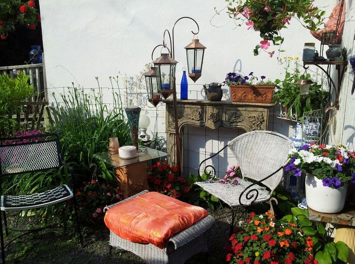 my husband owns a junk removal company and this is junk i saved from going to the, gardening, outdoor furniture, outdoor living, painted furniture, New garden spot